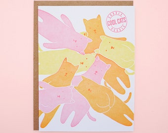 Cool Cats Cuddle Puddle Letterpress Card