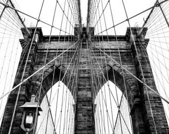 Black & White Photography - Brooklyn Bridge 1 - architecture, pattern, lines, NYC, new york, fine art print, home decor, wall photo