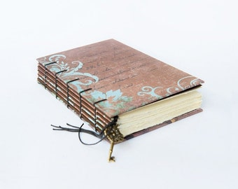 Vintage Writing - Handmade Coptic Bound Journal, Sketchbook