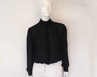 The Big Black Bow Sheer Georgette LS Button Down Blouse S, M, L: Vintage Women's Blouse, Top, Shirt