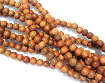 6mm Narra Natural Wood Beads 16 inch Strand, 75 Beads for Mala Necklaces