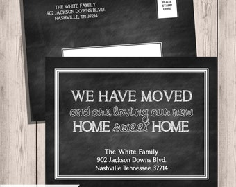 Chalkboard Moving Announcements, We've Moved , New Home, New Address Cards, Moving Cards, Change of Address, Printable, Moving Card
