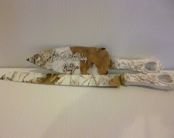 Rustic wedding Camo wedding cake knife and serving set in Snow  hydrographics