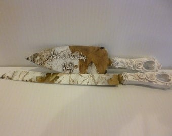 Rustic Wedding Camo Cake Knife And Serving Set In Snow Hydrographics