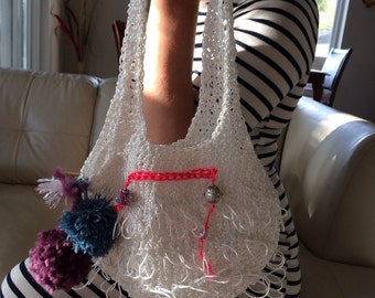 White crochet summer bag