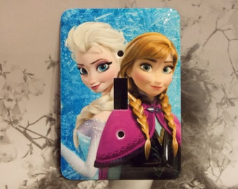 Metal Frozen Toggle Light Switch Cover - Elsa and Anna - Single Toggle