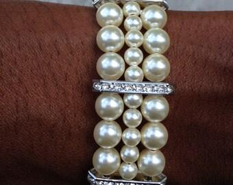 Traci - Bridal Jewelry, Pearl Bracelet, Rhinestone and Pearl Bracelet, Swarovski Pearls, Bridesamaid Jewelry, Pearl Bracelet, Rhinestone