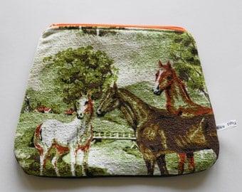 Vintage Barkcloth Horse Pouch Purse