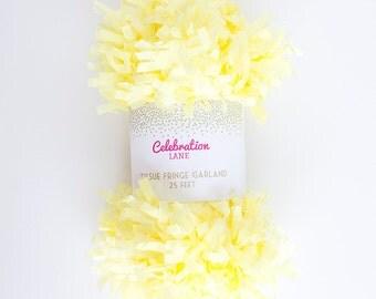 Yellow Tissue Fringe Garland, 25 Feet - by Celebration Lane