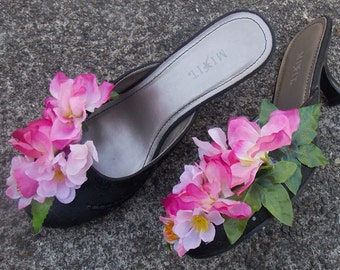Pink and Black Fairy Shoes with Green Leaves, Cosplay Shoes, Floral Wedding Slippers, Bridal Slippers, Elf Slippers, Pink Festival Shoes