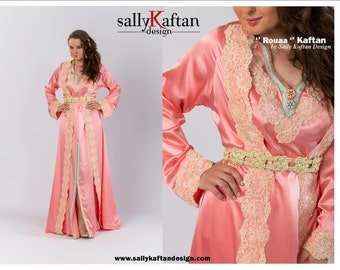 Saumon ''Ruaa'' Moroccan two pieces Takchita Kaftan Caftan