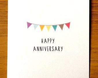 Bunting Happy Anniversary Card