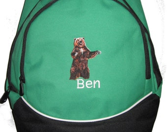 Grizzly Brown Bear   Personalized Monogrammed Backpack Book Bag school tote  - NEW - FREE SHIPPING