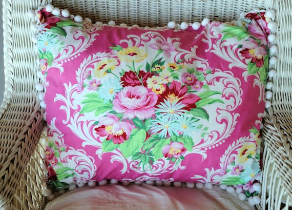 Hot Pink Floral Pillow Shams SPECIAL FOR NOREEN