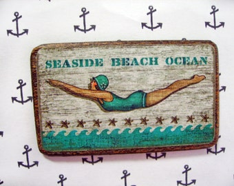 Seaside Beach Miniature Wooden Plaque 1:12 scale