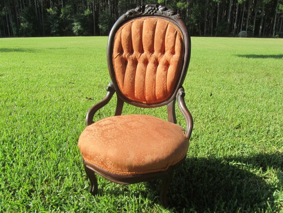 Vintage Chair Wood chair Furniture tufted chair slipper