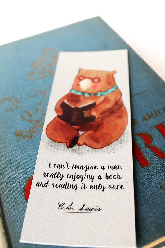 reading bear bookmark with famous authors quotes