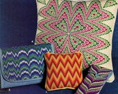 BARGELLO NEEDLEPOINT How-To and Pattern Book - Lessons & 4 Projects (pillow, pin cushion, handbag, eyeglass case) Hard Copy Original Kenyon
