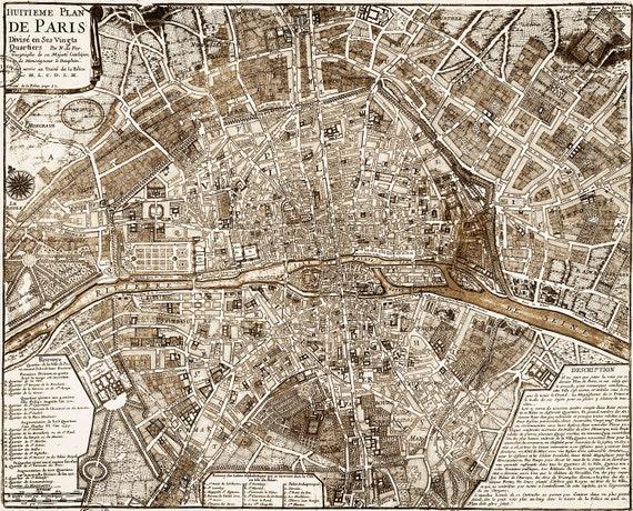 Paris Map Vintage Restoration Hardware Style Wall Map - Restoration hardware paris map