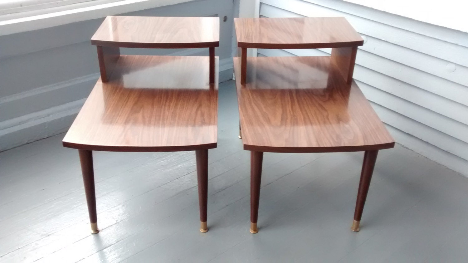 End Tables Step Up Mid Century Danish Modern Vintage