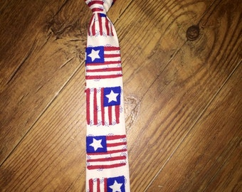 Summer/ 4th of July/Patriotic Print/ Flag/All American Boy/Red, White and Blue - Tie Perfect for pictures!