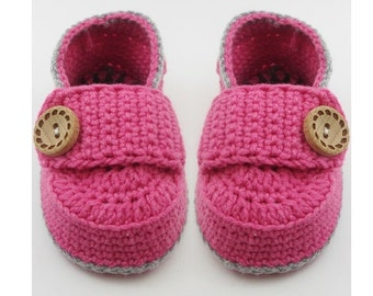 Crochet baby loafers, Pink Crochet Baby Booties,Little Button Loafers, Crochet Baby Booties, Crochet Baby Shoes sizes 0 thru 6 months