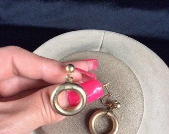 Vintage Goldtone Dangling O Earrings