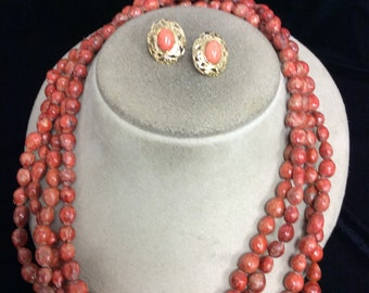 Vintage Long Shades Of Red-Brown Beaded Necklace Earring Set