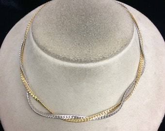 Vintage Double Stranded Two Tone Necklace