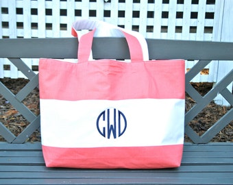 Coral Cabana Beach Tote- Custom Made to Order