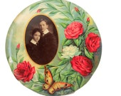 Victorian celluloid tin button ON HOLD with photo of two boys, circa early 1900s