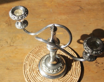 Ianthe Two Sconce Silver Plated Candelabra