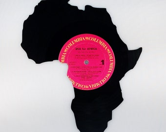 Recycled Vinyl Record AFRICA Wall Art