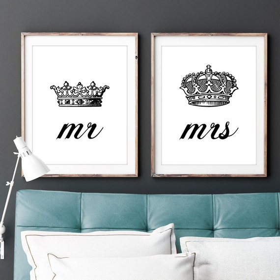 Black Crown Wall Decor : Set of two mr and mrs his hers king queen by lochnessstudio