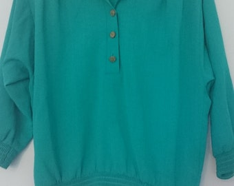 1980s turquoise blouse