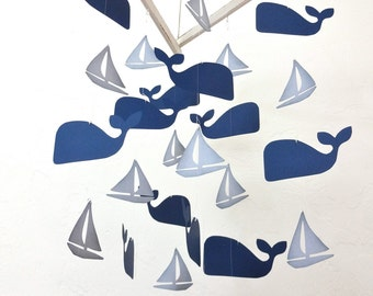 Handmade Whale Mobile, Nautical Nursery, Sail Boat, Whale Baby, Baby Shower, Nursery