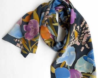 Tulips Silk scarf black. Watercolors flowers. Hand painted silk scarf black Floral scarf Silk neck scarves Orange, blue, black