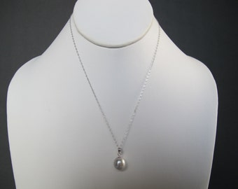 Silver South Sea Pearl Solid White Gold Necklace