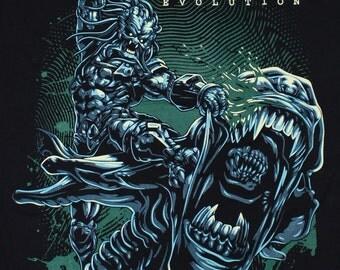 Alien Vs Predator Evolution hunter AVP 32  Black Timber Black T-shirt Sz. S,M,L,XL,XXL
