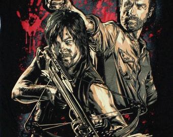 The Walking Dead Comic Book Series Rick Grimes Daryl Dixon 50 Black Timber Black T-shirt Sz. S,M,L,XL,XXL