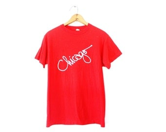 MEDIUM Vintage 1980s Chicago Soft and Thin Graphic T-Shirt