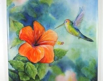 Hummingbird and Hibiscus on hangable tile Original Watercolor