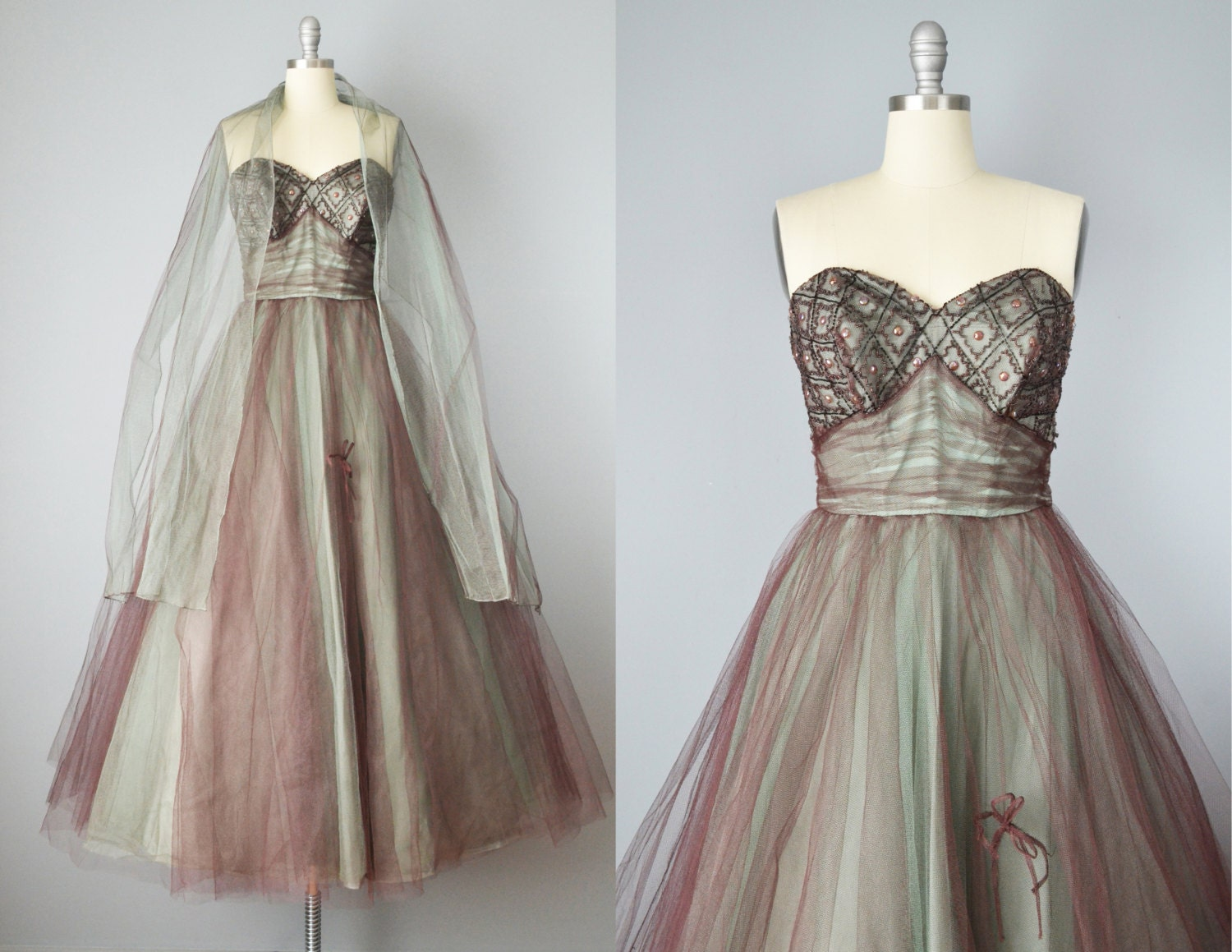 50s Dress // 1950s Strapless Beaded Tulle & Taffeta Prom Dress