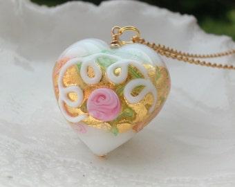Venetian Murano Glass Wedding Cake White  Necklace