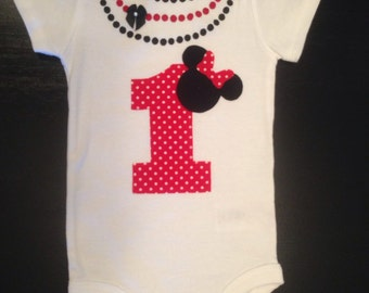 Minnie Mouse Birthday Onesie with necklace