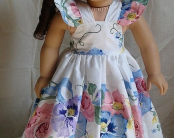 18 Inch Doll Clothes, Handmade Dress,  Floral  Doll Dress, Fits American Girl Dolls & Madame Alexander Dolls
