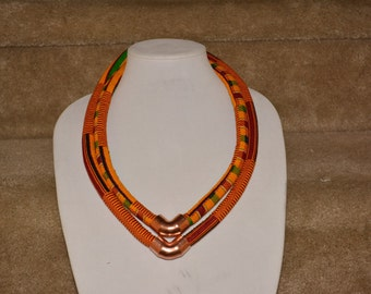Ankara Necklace, Statement Necklace, Ethnic Necklace, Triabal Neckalce, Bib Necklace, African Print necklace, HawasBoutique, Kente Necklace.