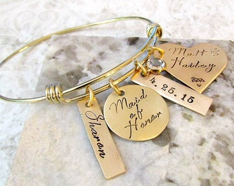 Maid of Honor, Matron of Honor Personalized Hand Stamped Gold Bangle Bracelet - Wedding