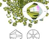 4mm Olivine AB Swarovski Bicone Crystals - Olivine - AB Finish - Package of 50