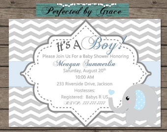 Printable DIY Grey Chevron and Blue Baby Boy Shower with Elephant